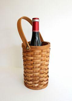 wicker wine bottle carrier //  tall round by AntiqueWhiteBoutique, $16.00