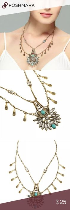 Statement Necklace (new) Very pretty zinc alloy necklace with Crystals and faux turquoise. Beautiful piece. Brand new in package. Price firm unless bundled Jewelry Necklaces