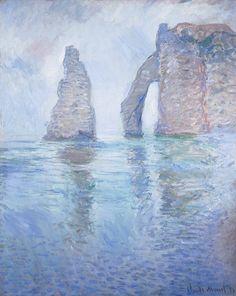 L'Aiguille et la Porte d'Aval vues en amont (C Monet - W 1042),1886.