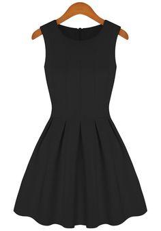 Black Plain Pleated Round Neck Sleeveless Sweet Tutu Fashion Cotton Blend Dress