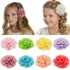 White baby pink Headband elasticated stretch kids flower accessories fashion x2