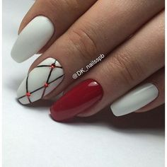 70 ideas nails art white red for 2019 Manicure Gel, Shellac Nails, Acrylic Nails, Hot Nails, Hair And Nails, Red And White Nails, Geometric Nail, American Nails, Super Nails