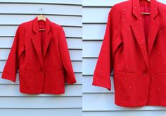 Vintage Vtg Vg 1980's 80's Bright Red Wool Blazer with Shoulder Pads and Gold Bling Dots Lined Women's Executive Hipster Size Medium by foxandfawns on Etsy