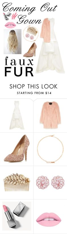 """""""Coming Out Gown"""" by silica-daliya ❤ liked on Polyvore featuring Maticevski, Unreal Fur, Head Over Heels by Dune, Marli, Miriam Haskell and Burberry"""