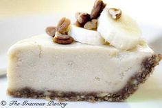 Clean Eating Banana Pecan Ice Cream Pie---this pie really symbolizes what clean eating is really about. A few, natural ingredients that, when combined, create something utterly delicious and healthy!    All the fats in this recipe are healthy fats from the pecans, and all the sugars are healthy sugars from the bananas!    If ever there was a clean eating dessert, this is it folks. Eat up!