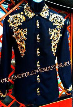 """Купить Рубаха мужская """"Мотивы средневековья"""" - черный, Вышиванка, рубаха с вышивкой, рубашка, рубаха"""
