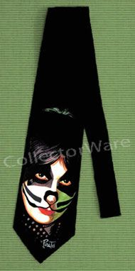 KISS Peter Criss drawing 1 CUSTOM ART UNIQUE TIE   Each necktie is individually hand-painted, a true and unique work of art indeed!  To order this, or design your own custom tie, please contact us at info@collectorware.com, or visit http://www.collectorware.com/neckties-kiss_andrelated.htm