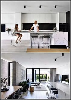Kitchen Interior In this kitchen, a black backsplash ties in with the black timber, while minimalist, hardware free white cabinets and a stone island with seating complete the modern look. Minimalist Kitchen, Minimalist Interior, Minimalist Decor, Modern Minimalist, Minimalist Living, Minimalist Bedroom, Minimalist Cabinets, Modern Living, Small Living
