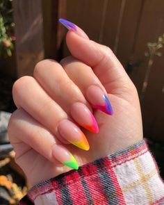 Amazing Rainbow French Tips frenchmanicure rainbows rainbowcolors Stylish Nails, Trendy Nails, Fancy Nails, My Nails, Fancy Nail Art, Pointy Nails, Neon Nails, French Tip Nails, French Manicures