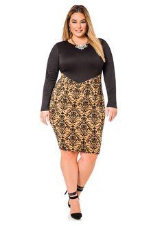 Flocked Skirt Dress - Ashley Stewart