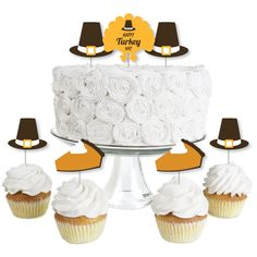 Happy Turkey Day - Dessert Cupcake Toppers - Fall Harvest & Thanksgiving Clear Treat Picks - Pilgrim Themed Party Supplies - Set of 24