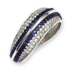 .925 Sterling Silver Blue Clear CZ Swirl Ring Silver Jewelry Available Exclusively at Gemologica.com
