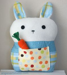 FREE SHIPPING Bobo the Patchwork Bunny Pillow by angiebabygifts, $35.00