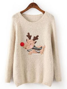 Beige Long Sleeve Deer Pattern Loose Sweater US$32.62