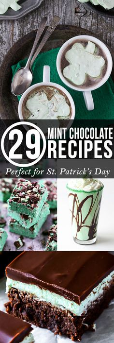 Twenty Nine Minty GREEN Chocolate Desserts perfect for St. Patrick's Day!