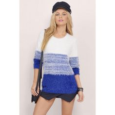 Tobi Dhalia Fuzzy Ombre Sweater ($42) ❤ liked on Polyvore featuring tops, sweaters, fuzzy sweater, ombre sweater, crewneck sweater, crew-neck sweaters and ombre top