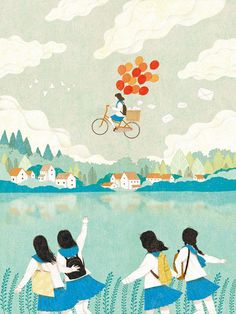 freedom how we all picture ourselves while cycling on the open road, lovely whimsical art watercolour illustration by Gobugi Children's Book Illustration, Graphic Design Illustration, Art Illustrations, Watercolour Illustration, Art Watercolour, Dibujos Cute, Animation, Bike Art, Art Graphique