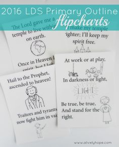 A Lively Hope: 2016 LDS Primary Outline Flipcharts to Color (PLUS Search, Ponder and Pray and Seek the Lord Early)