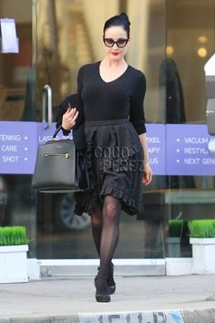 Dita Von Teese shops in style in Brentwood, California.