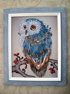 Gallery.ru / Голубая сова - вышивка лентами, мои работы 2 - Galazil