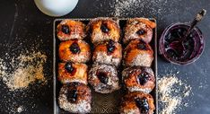 Light As Air Halloumi Donuts With Blueberry Jam! Halloumi, Beignets, Donut Crazy, Jam Donut, Blueberry Donuts, Pancakes, Fairy Cakes, Tasty, Yummy Food