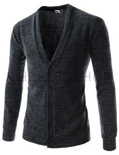 (JGA08-CHARCOAL) Mens Slim Fit Basic Knitwear Casual Stylish Button Up Cardigan Sweater