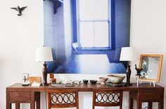 Tour the Exquisitie Home of Decorator Mariette Himes Gomez....MARIA, NOT THIS BUT A TABLE PUSHED UP AGAINST THE DINING AREA WALL...LONG NARROW TABLE!!!!!!!!!!!!!!!!!!!!!!