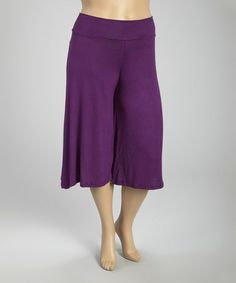 Look at this #zulilyfind! Purple Solid Cropped Palazzo Pants - Plus #zulilyfinds