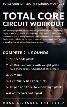 This challenging core circuit workout will work your core muscles from every angle, as well as your arms and shoulders. Minimal equipment required. Beginners, try 2 rounds, more advanced should complete 4 rounds with minimal rest.