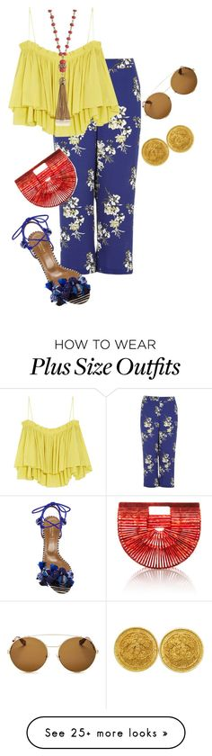 """""""plus size flamingo nights"""" by xtrak on Polyvore featuring River Island, Apiece Apart, Cult Gaia, Aquazzura, Givenchy, Tory Burch and Chanel"""