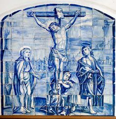 Calvário (Primeiro quartel do século XVIII). Painel de azulejos, fabrico de Lisboa. Arquidiocese de Évora.