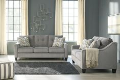 2 pc Bizzy collection smoke fabric upholstered sofa and love seat set with squared arms. This set includes the Sofa and Love seat featuring squared arms. Sofa measures x x H. Love seat measures x x H. Optional chair and ottoman als Sofa Upholstery, Upholstered Sofa, Fabric Sofa, Living Room Sets, Living Room Furniture, Home Furniture, Furniture Design, Vintage Sofa, Retro Sofa