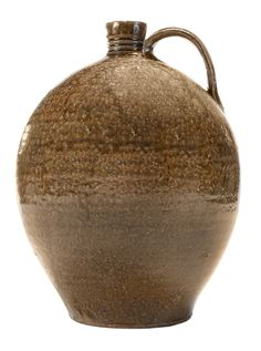 """Lot 248 of Brunk Auctions' July 20th Sale - Isaac Lefevers Stoneware Jug - Lincoln County, North Carolina, 1831-1864, ovoid form, mottled runny olive glaze, ridged strap handle, ring decoration on neck, stamped """"I.L"""" at shoulder, 13 in. - Estimate $4,000 to $8,000"""