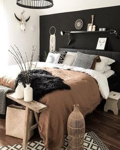 19 Ideas Bedroom Dark Boho Spaces For 2019 Boho Bedroom bedroom Boho Dark ideas Spaces Small Master Bedroom, Bedroom Black, Master Bedroom Design, Bedroom Inspo, Dream Bedroom, Home Decor Bedroom, Bedroom Wall, Bedroom Furniture, Bedroom Ideas
