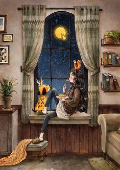Moon like cheese by Aeppol – Wallpaper Art Anime, Anime Art Girl, Poster Print, Forest Girl, Digital Art Girl, Cartoon Art Styles, Cute Cartoon Wallpapers, Whimsical Art, Cute Illustration
