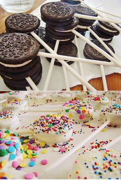 DIY wedding desserts. Oreos on a stick. Dip Oreos in white / regular chocolate and cover with sprinkles. Alter white chocolate color with food dye to match wedding theme.