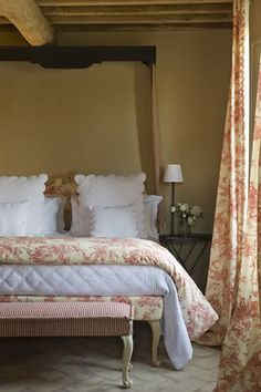 French Country Bedroom - Love the Toile Upholstery On The Bed!