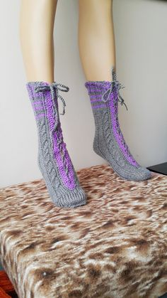 EXPRESS SHIPPING Gray Purple Luxurious Knit Socks, Hand knitted socks, winter accessories,... $40