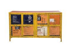 KARE Design. Lässiges Sideboard in strahlendem Gelb. Das Sideboard ist aus recyceltem Eisenblech gefertigt. Jedes Stück ein Unikat.