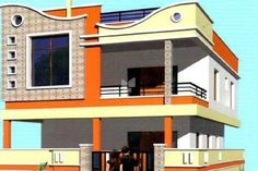 House Front Wall Design, Village House Design, Small House Design, Modern House Design, Front Elevation Designs, House Elevation, Duplex House Plans, Dream House Plans, Indian House Plans