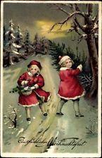 Ak Glückwunsch Weihnachten, Mädchen im Wald, Tannenbaum, Korb - 1153849
