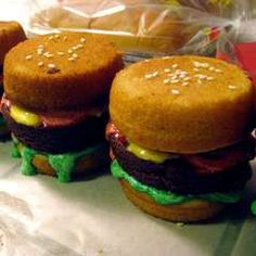 hamburger muffins-made with yellow cake and brownie mix and colored icings.