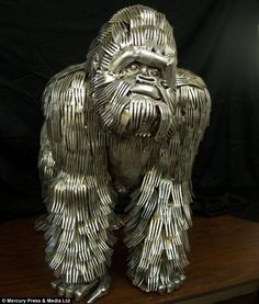 Sculpture made out of cutlery by Gary Hovey.