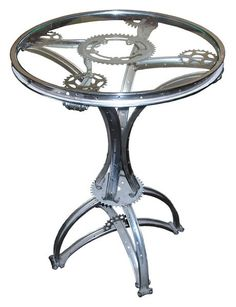 Steam-Punk 'Gueridon' table made of Bicycle Parts