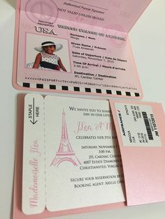 Paris quinceanera invitation paris boarding pass by anaderoux