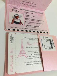 Paris quinceanera invitation paris boarding pass by anaderoux