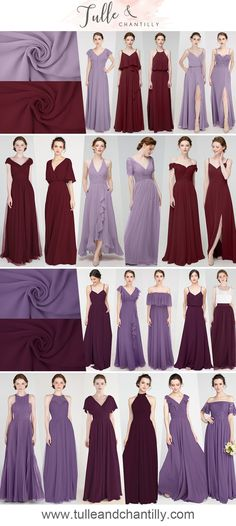 2021 fall wedding color ideas with beautifull bridesmaid dresses in lavender, purple, aubergine and burgundy