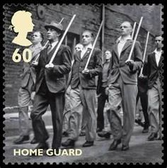 Home Guard in Britain during World War II, shown on this 60 pence memorial postage stamp, drilling with broom handles.  #WWII