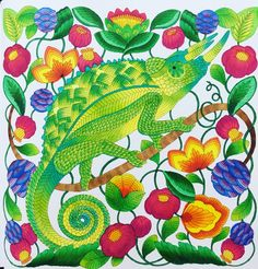 Jackson's Chameleon from Millie Marotta's Curious Creatures using Copic Markers