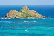 Windsurfer gybing in the lagoon near Moku Nui island, Lanikai, Kailua Bay, Oahu, Hawaii